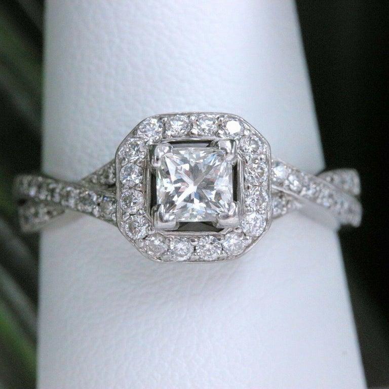 Princess Halo Twisted Diamond Engagement Ring 14 Karat White Gold 1 Carat For Sale 5