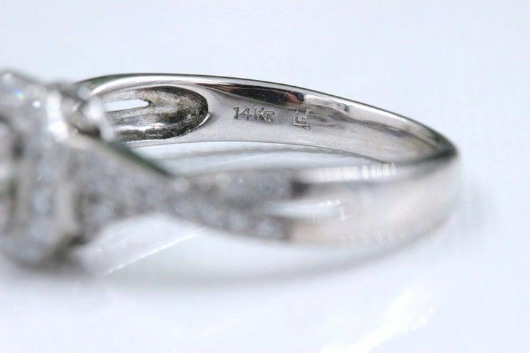 Princess Halo Twisted Diamond Engagement Ring 14 Karat White Gold 1 Carat For Sale 6