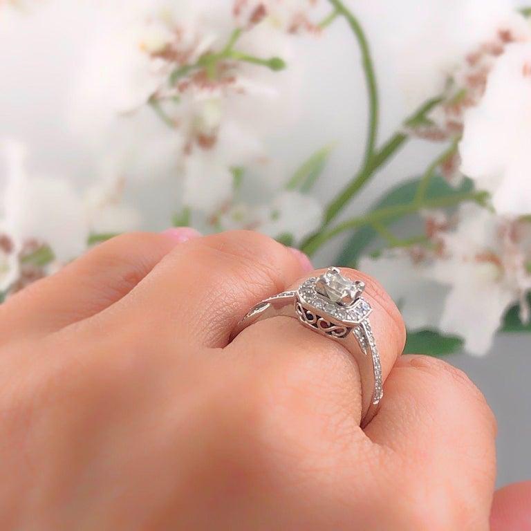 Round Cut Princess Halo Twisted Diamond Engagement Ring 14 Karat White Gold 1 Carat For Sale