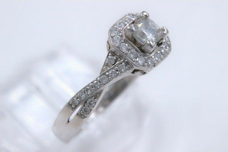 Women's Princess Halo Twisted Diamond Engagement Ring 14 Karat White Gold 1 Carat For Sale