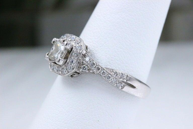 Princess Halo Twisted Diamond Engagement Ring 14 Karat White Gold 1 Carat For Sale 1