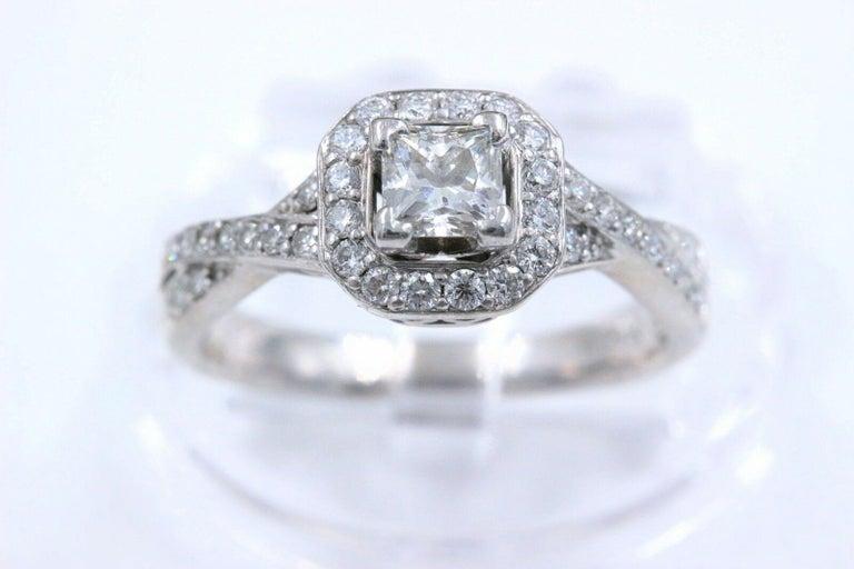 Princess Halo Twisted Diamond Engagement Ring 14 Karat White Gold 1 Carat For Sale 2