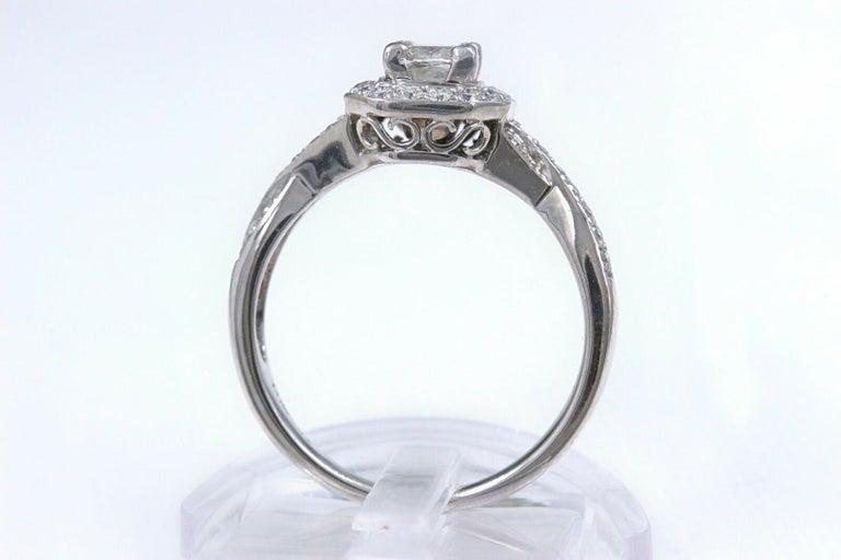 Princess Halo Twisted Diamond Engagement Ring 14 Karat White Gold 1 Carat For Sale 3