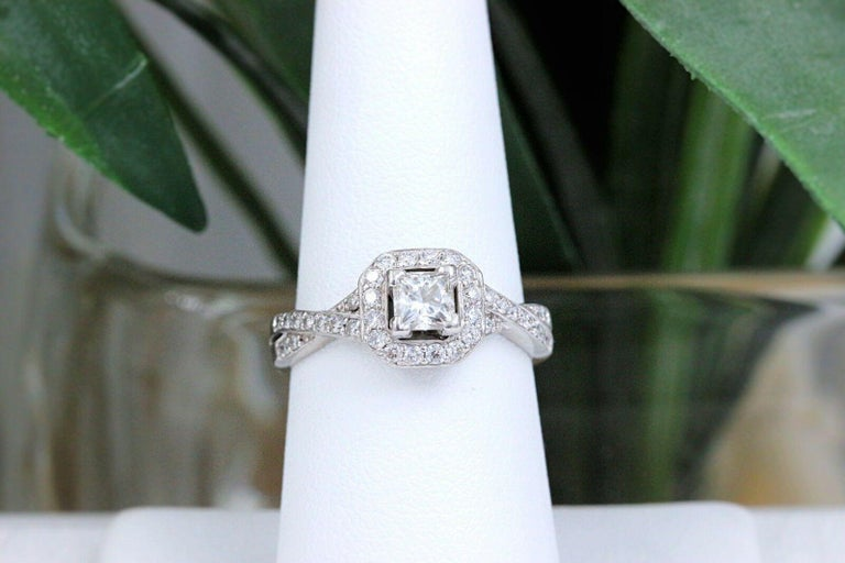 Princess Halo Twisted Diamond Engagement Ring 14 Karat White Gold 1 Carat For Sale 4