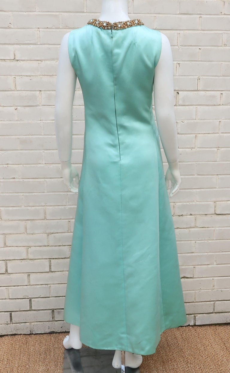 Princess Irene Galitzine Mint Green & Gold Beaded Evening Dress, 1960's For Sale 6
