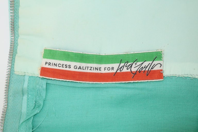 Princess Irene Galitzine Mint Green & Gold Beaded Evening Dress, 1960's For Sale 7