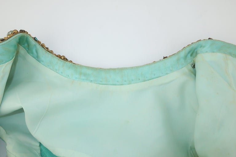 Princess Irene Galitzine Mint Green & Gold Beaded Evening Dress, 1960's For Sale 8