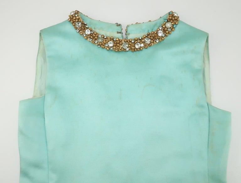 Princess Irene Galitzine Mint Green & Gold Beaded Evening Dress, 1960's For Sale 9