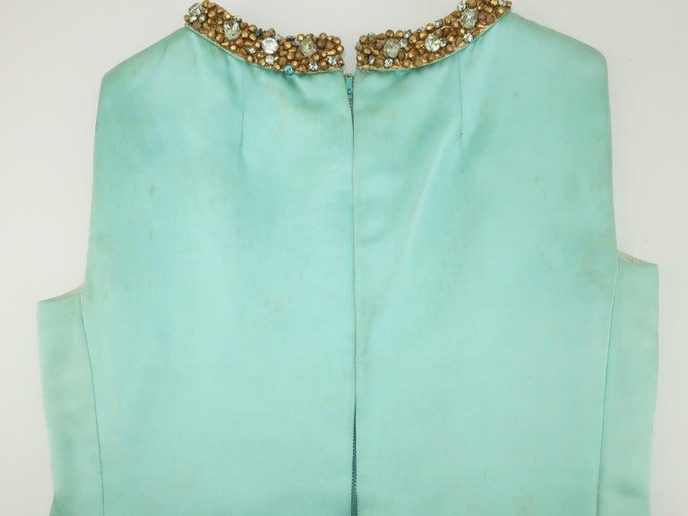 Princess Irene Galitzine Mint Green & Gold Beaded Evening Dress, 1960's For Sale 11