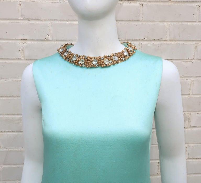 Princess Irene Galitzine Mint Green & Gold Beaded Evening Dress, 1960's In Fair Condition For Sale In Atlanta, GA