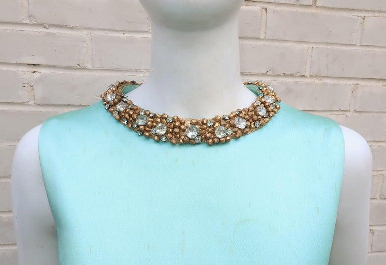 Women's Princess Irene Galitzine Mint Green & Gold Beaded Evening Dress, 1960's For Sale