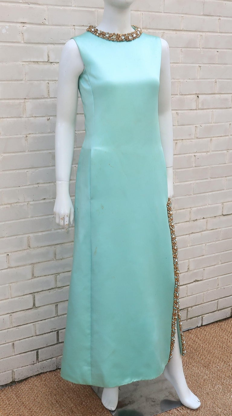 Princess Irene Galitzine Mint Green & Gold Beaded Evening Dress, 1960's For Sale 1