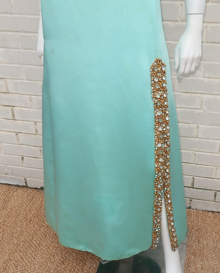 Princess Irene Galitzine Mint Green & Gold Beaded Evening Dress, 1960's For Sale 3