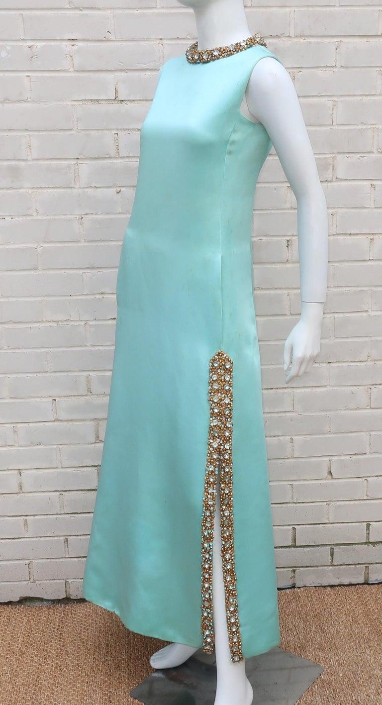 Princess Irene Galitzine Mint Green & Gold Beaded Evening Dress, 1960's For Sale 4