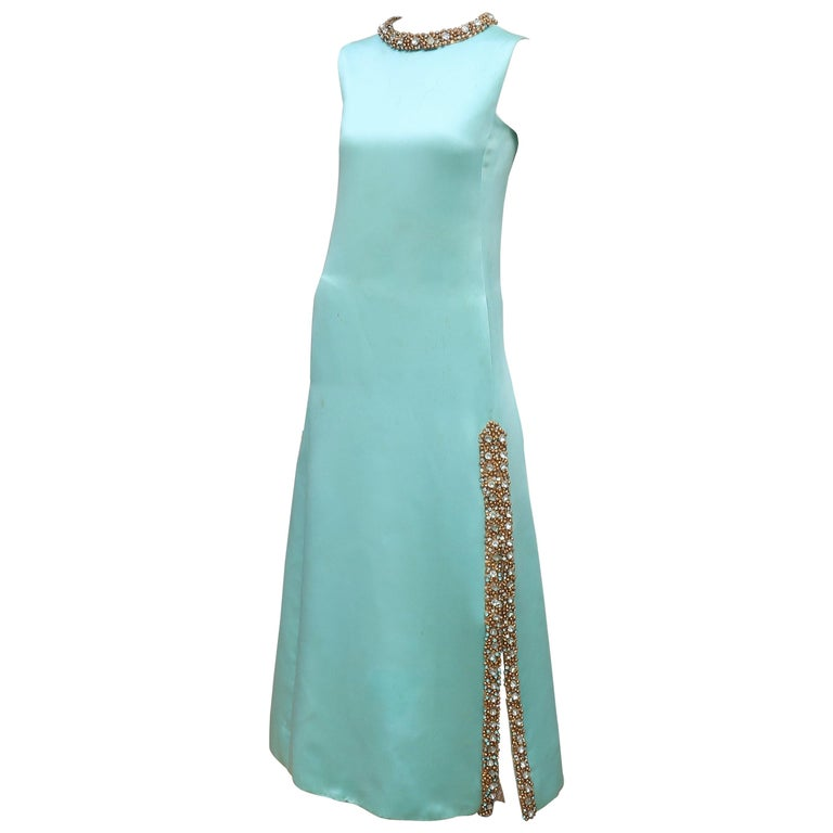 Princess Irene Galitzine Mint Green & Gold Beaded Evening Dress, 1960's For Sale