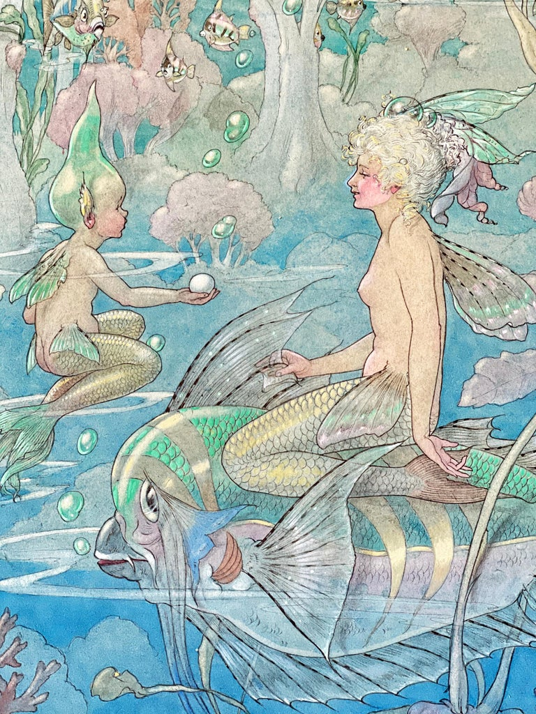 Painted with very fine detail and a brilliant use of jewel-toned color, this fantastic and charming depiction of a mermaid riding on an exotic fish, surrounded by water babies and exotic flora, dates to 1931. Painted as the Depression was taking