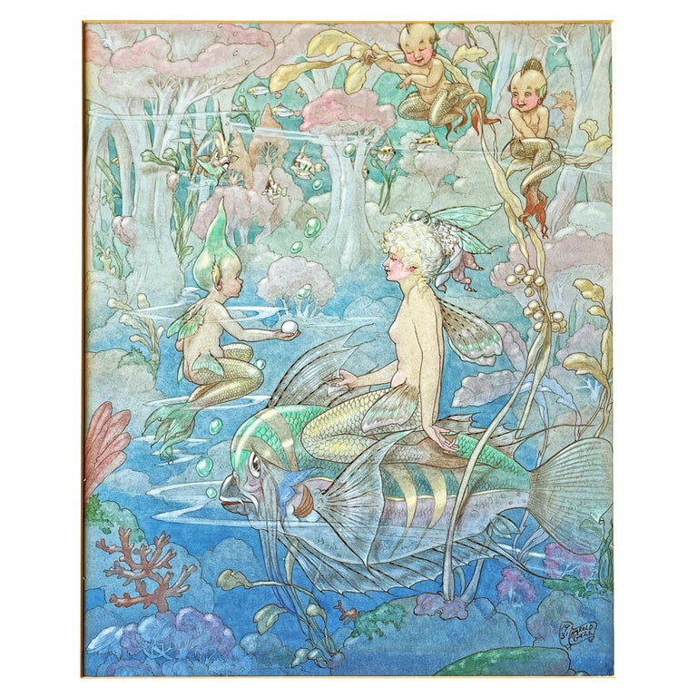 """""""Princess of the Sea,"""" Illustration Painting in Blues, Greens with Mermaid, Fish For Sale"""