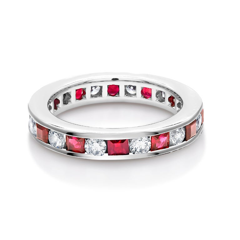 Princess Ruby Alternating Diamond Eternity Platinum Band Ring In New Condition For Sale In New York, NY