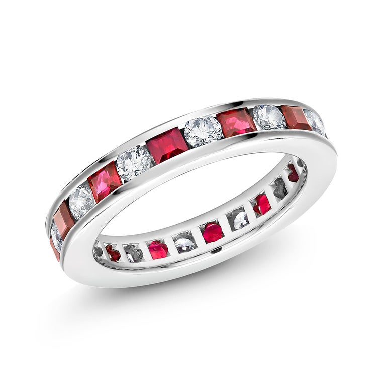 Women's Princess Ruby Alternating Diamond Eternity Platinum Band Ring For Sale