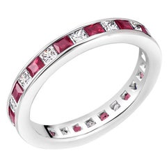 Princess Ruby Alternating Diamond Eternity Platinum Band Ring