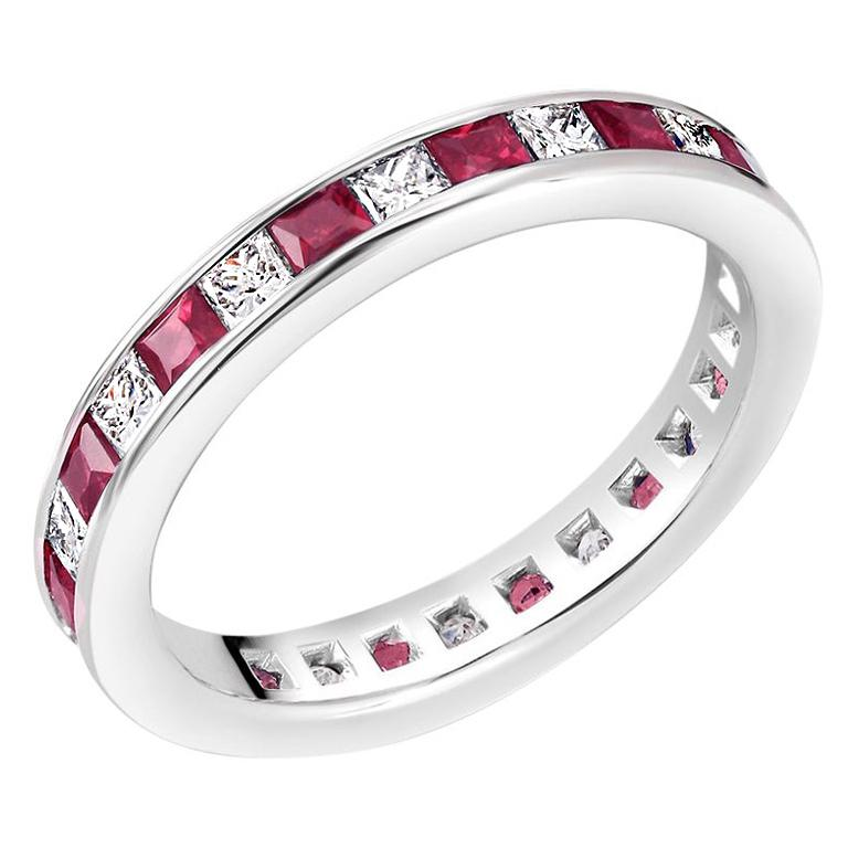 Princess Ruby Alternating Diamond Eternity Platinum Band Ring For Sale