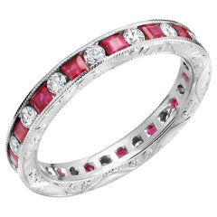 Princess Ruby and Diamond Eternity Hand Engraved Platinum Band