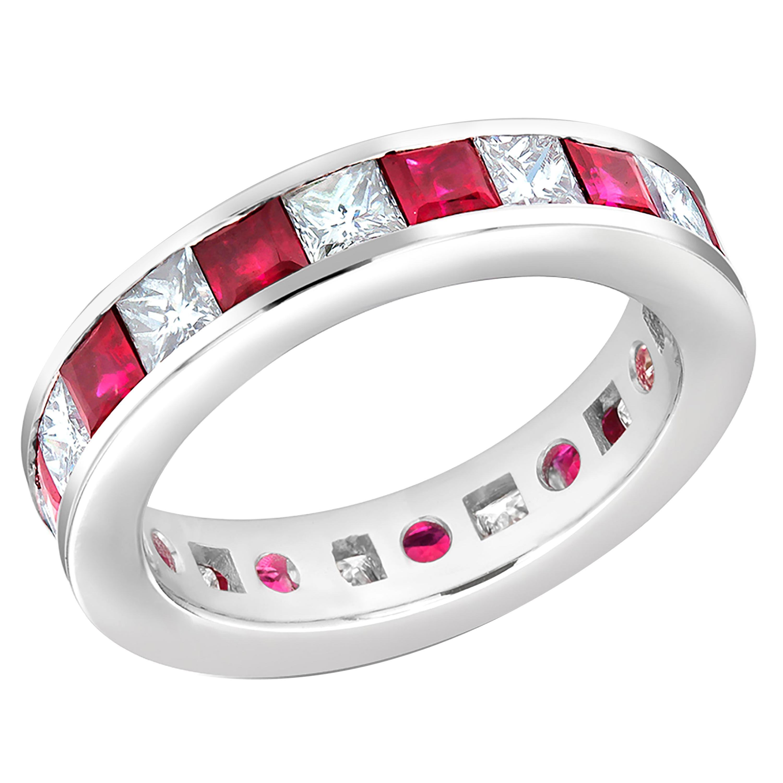 Princess Ruby Princess Diamond Eternity 18 Karat Gold Ring Weighing 4.80 Carat