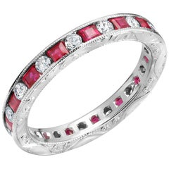 Princess Ruby Round Diamond Eternity Hand Engraved Band Weighing 1.75 Carat