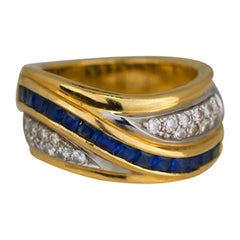 Princess Sapphire and Diamond Channel, 1.70 Carat, Wide Band Ring