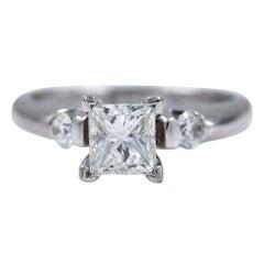 Princess Three-Stone Diamond Engagement Ring 2.00 Carat 14 Karat White Gold