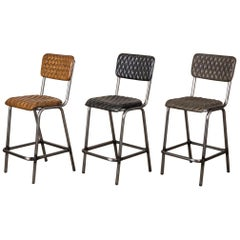 Princeton Leather Upholstered Bar Stools, 20th Century