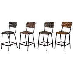 Princeton Quilted Leather Bar Stools, 20th Century