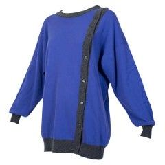Pringle Scotland Purple Gray Asymmetrical Cashmere Pullover Cardigan - L, 1980s