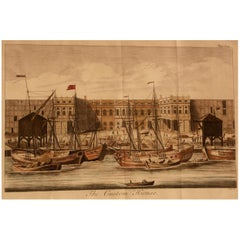 Print, Hand-Colored, Copperplate, Engraved, Custom House, William Maitland