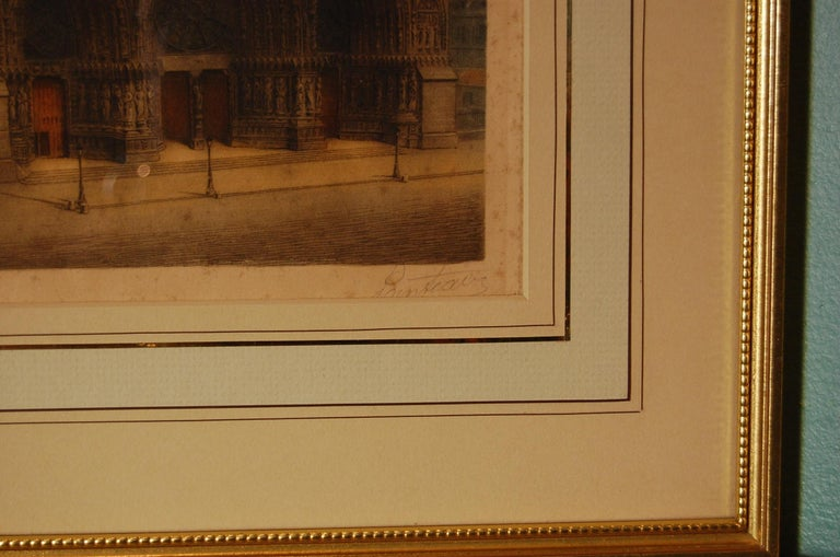 Edwardian Print in Sepia of Notre-Dame de Reims, known in English as Reims Cathedral For Sale