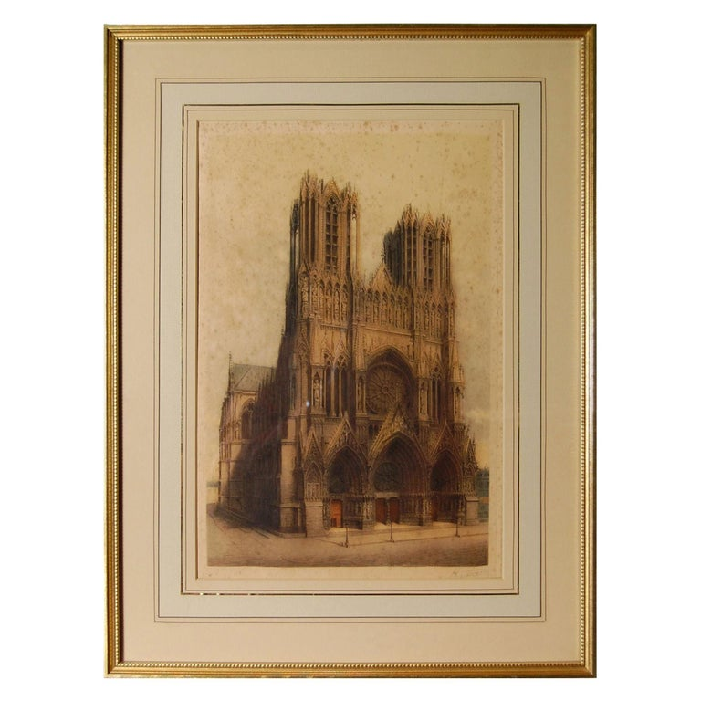 Print in Sepia of Notre-Dame de Reims, known in English as Reims Cathedral For Sale