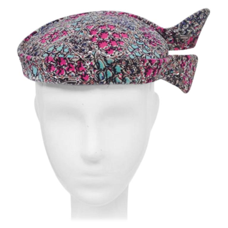Print Velvet hat with Sequins For Sale