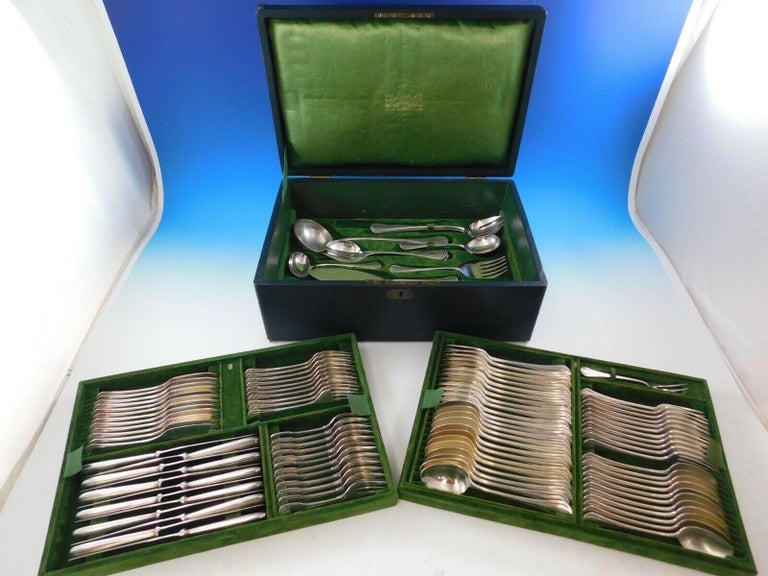 Printania by Christofle France Silver Plate Flatware Set Service 111 Pcs in Box In Excellent Condition For Sale In Big Bend, WI