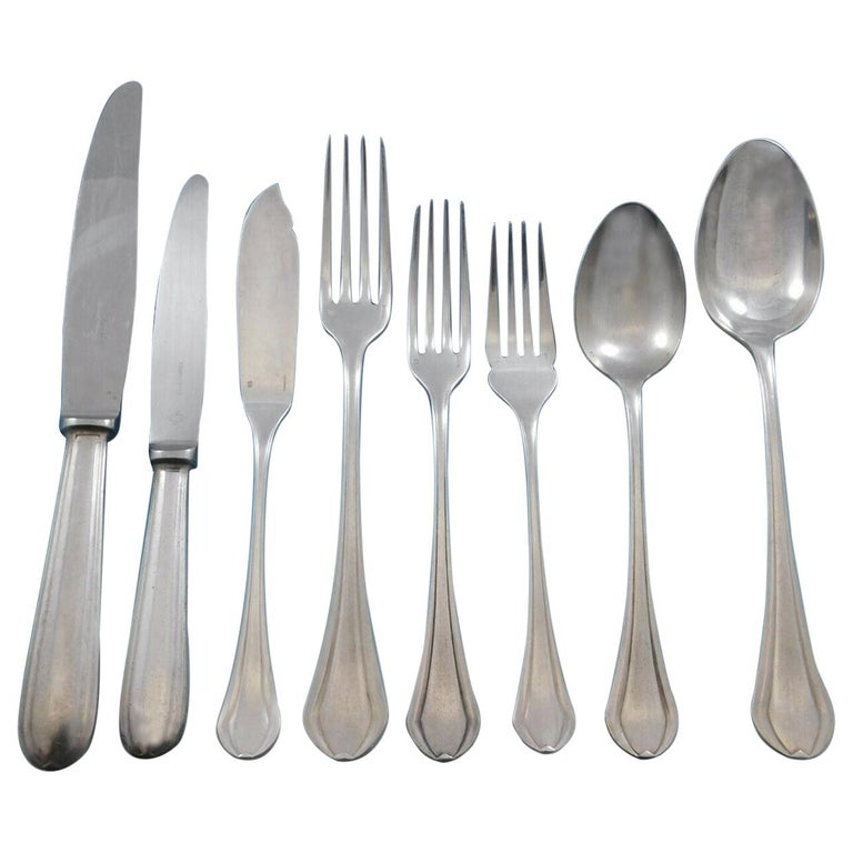 Printania by Christofle France Silver Plate Flatware Set Service 111 Pcs in Box For Sale