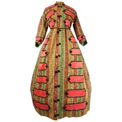 Printed challis Crinoline dress circa 1860