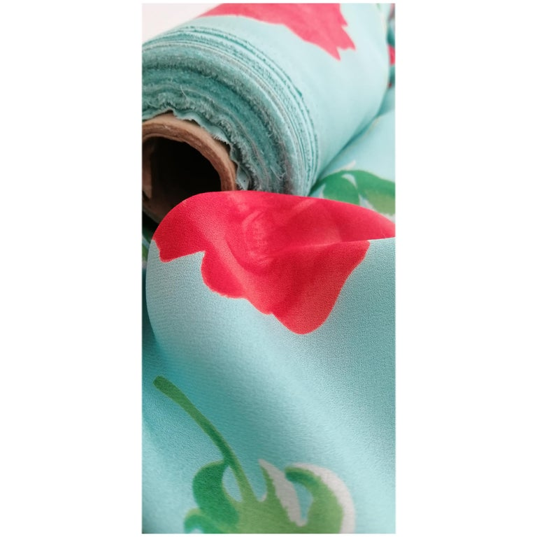 Printed Designer Exclusive Pure Silk Double Crepe Georgette by the yard  For Sale