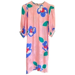 Printed Flora Kung Pink Silk Shift with Puff Sleeves
