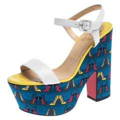 Printed Leather and Fabric Open Toe Ankle Strap Platform Sandals Size 40
