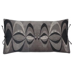Printed Linen Pillow Concentric Black White
