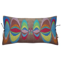 Printed Linen Pillow Concentric Multi 12x22