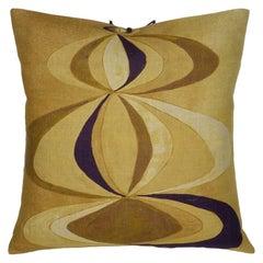 Printed Linen Pillow Concentric Ochre