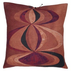 Printed Linen Pillow Concentric Rouge