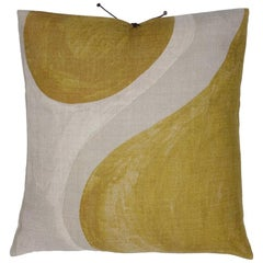 Printed Linen Pillow Winding Ochre