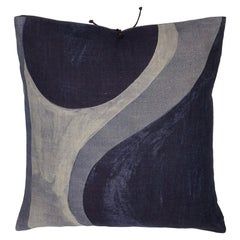 Printed Linen Pillow Winding Slate 20x20
