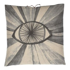 Printed Linen Throw Pillow Eyeburst Gray